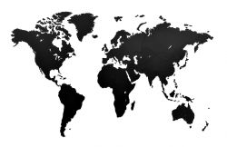 Luxus-Weltkarte aus Holz 130 x 78 cm | Schwarz