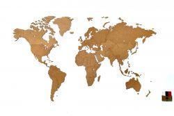 Luxus-Weltkarte aus Holz 130 x 78 cm | Natur