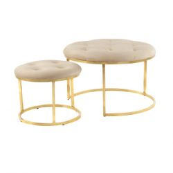 2er Set Hocker Hanni 733 | Taupe - Gold