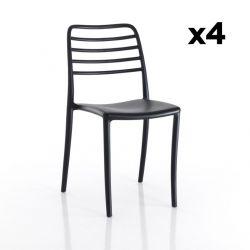Set de 4 Chaises d'Extérieur/Intérieur Jonas | Noir