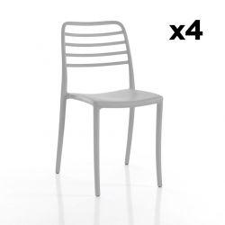 Set de 4 Chaises d'Extérieur/Intérieur Jonas | Gris