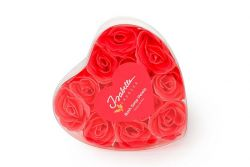 12 Seifen-Konfetti-Rosen in herzförmiger Schachtel | Korallenrosa