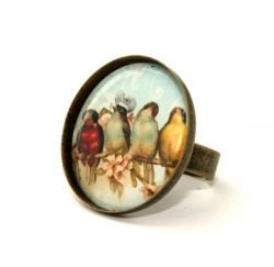4 Birds on Blue Round Cameo Ring