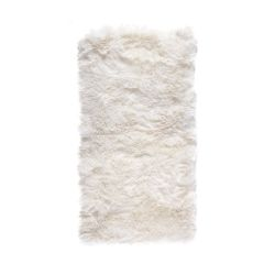 Rechteckiger Schafwollwollteppich 140 cm | Weiß