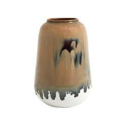 Keramikvase Natur Groß | Braun & Weiß