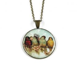 4 Birds in a Row Bronze Necklace