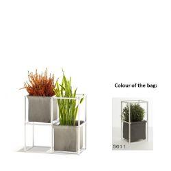 Système de Plantes Modulaire 4x Blanc + 2 Sacs Gris Foncé