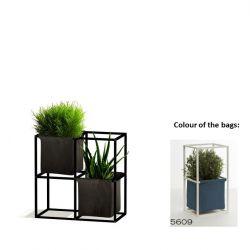 Modulares Pflanzengestell 4x Schwarz + 2 blaueTaschen