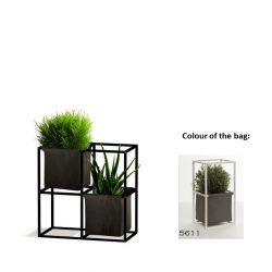Modulares Pflanzengestell 4x Schwarz + 2 dunkelgraue Taschen