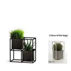 Modulares Pflanzengestell 4x Schwarz + 2 graue Taschen