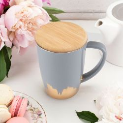 Bailey Grey & Gold Dipped Ceramic Tea Mug and Infuser