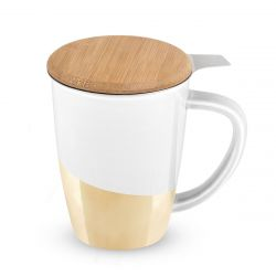 Bailey Gold Dipped Ceramic Tea Mug und Infuser