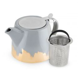 Harper Grey Gold Dipped Ceramic Teapot & Infuser