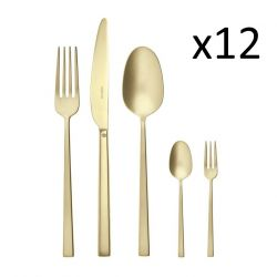 Cutlery Set of 60 Pieces Rock | Stainless Steel Champagne Matt