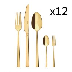 Cutlery Set of 60 Pieces Rock | Stainless Steel Gold