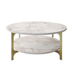 Coffee Table Versy | Gold / White