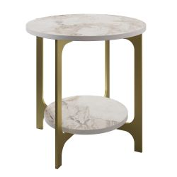 Table d'Appoint Versy | Or / Blanc