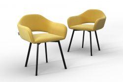 Set Of 2 Chairs Oldenburg | Yellow-Velvet Touch