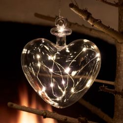 Christmas Lighting Pure Glass Heart | 14 Lights
