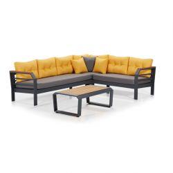 Garten-Lounge-Set | Grau - Gelb - Schwarz