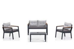 Gartensalon-set | Grau - Weiß - Schwarz