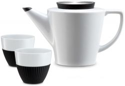 Infusion Teapot + 2 Cups | Black & White