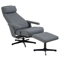 Resting Chair + Footstool Brondby | Dark Grey