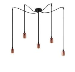 Pendant Lamp UNO 5_S | Glossy Copper lampholder, black power cord, black hardware