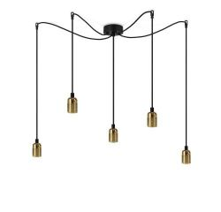 Pendant Lamp UNO 5_S | Glossy Brass lampholder, black power cord, brass hardware