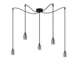 Pendant Lamp UNO 5_S | Glossy Nickel lampholder, black power cord, nickel hardware