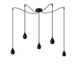 Pendant Lamp UNO 5_S Plus | Black lampholder, black power cord, black hardware