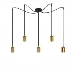 Lampe Suspension CERO BASIC 5_S | Or & Noir
