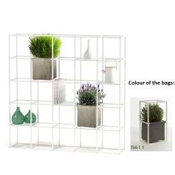 Modulares Pflanzengestell 5 x 5 Weiß + 2 Dunkelgraue Taschen