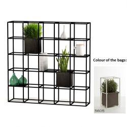 Modulares Pflanzengestell 5 x 5 Schwarz + 2 braune Taschen
