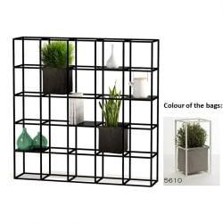 Modulares Pflanzengestell 5 x 5 Schwarz + 2 Graue Taschen