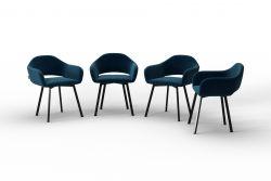 Set Of 4 Chairs Oldenburg | Navy Blue-Velvet Touch
