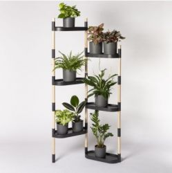 Recycled Plant stand with trays | Black
