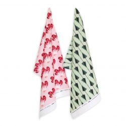 Set of 2 Tea Towels | Pink & Mint