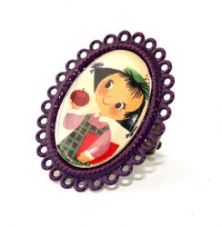 Apple Girl on Purple Oval Ring