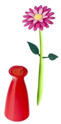 Stylo avec Vase Fleurs | Rose