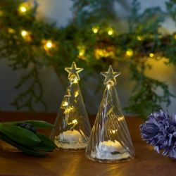 Glasbaumwelle mit Led-Leuchten | 2er-Set