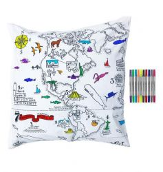 Worldmap Pillowcase 65 cm Square