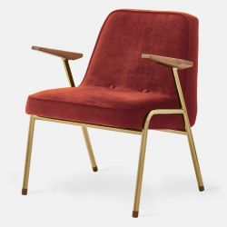 Armchair 366 Metal & Velvet | Gold Gloss Metal & Red Brick