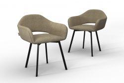 Set Of 2 Chairs Oldenburg | Beige -Linen Touch