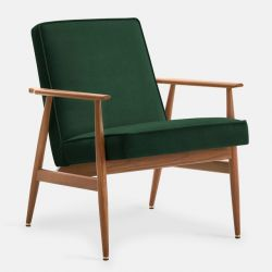 Armchair Fox Velvet | Dark Wood & Bottle Green