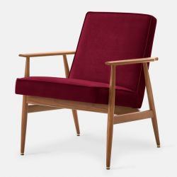 Armchair Fox Velvet | Dark Wood & Merlot