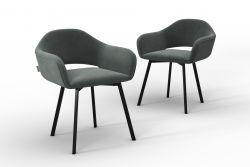 Set Of 2 Chairs Oldenburg | Grey-Velvet Touch