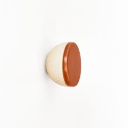 Buchenholz & Keramik Haken / Knopf Ø 6cm | Dunkles Terrakotta