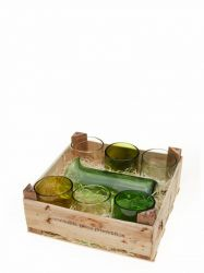 Wooden Crate | 1 Jug & 6 Glasses