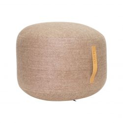 Pouf with Leather Strap | Brown